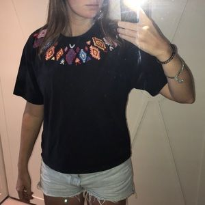 zara colorful embroidered tee